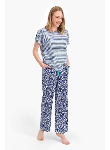 Arnetta Marine Floral Mavi Kadın Kısa Kol Pijama Takımı Mavi